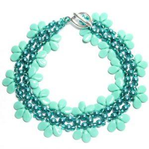 Teal Lacy Ladder Flower-riverside beads