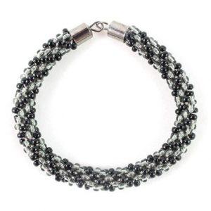 Black Grey Beaded Kumihimo Bracelet -riverside beads