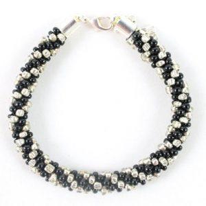 Black Silver Beaded Kumihimo Bracelet - riverside beads