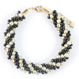 Black Gold Beaded Kumihimo-riverside beads