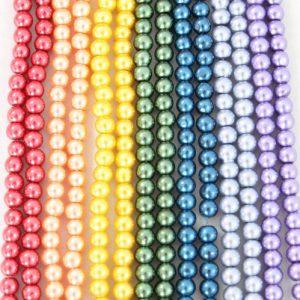 4mm Rainbow Glass Pearls - Riverside Beads