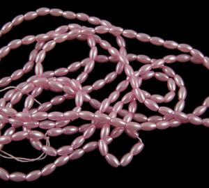 Pink Acrylic Rice Pearl - Riverside Beads