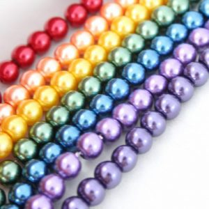 6mm Rainbow Glass Pearls - Riverside Beads