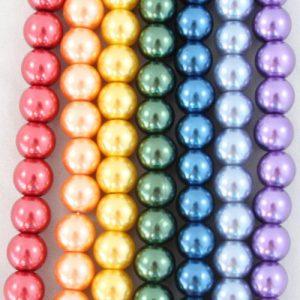 8mm Rainbow Glass Pearls - Riverside Beads