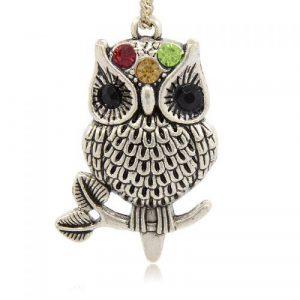 Three Colour Diamante Owl Charm - Riverside Beads