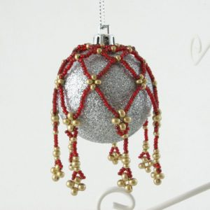 Beaded Bauble Nets Red and Gold - Riverside Beads
