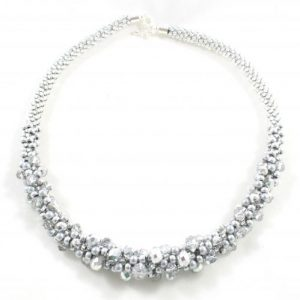 Silver Crystal Kumihimo Necklace-riverside beads