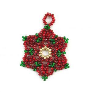 Beaded Poinsettia Ornaments-Riverside Beads