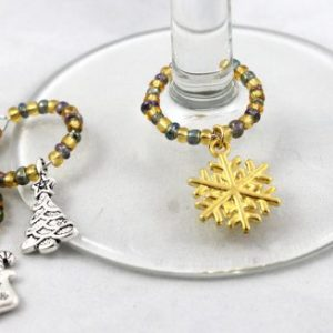 Christmas Wine Glass Charms-riverside beads
