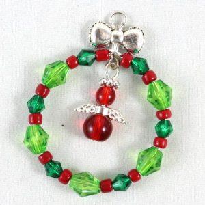 Red Beaded Wreath Angel-riverside beads