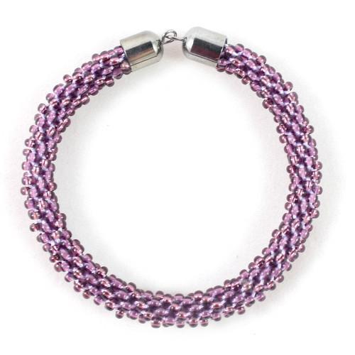 Purple Beaded Kumihimo Bracelet-riverside beads
