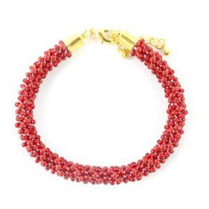 Red Beaded Kumihimo Bracelet-riverside beads