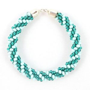 Teal Beaded Kumihimo Bracelet-riverside beads
