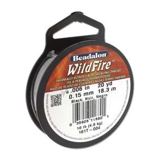 Wildfire Bonded Bead Weaving Thread - Black 0.15mm 0.006in - Riverside Beads