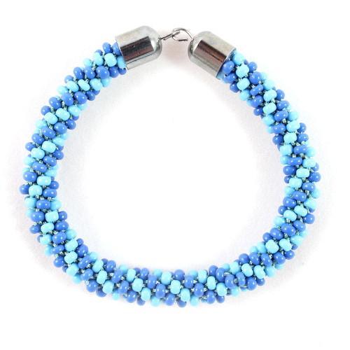 Blue Beaded Kumihimo Bracelet-riverside beads