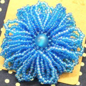 Blue Frilly Flower Brooch-riverside beads