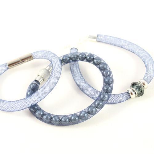 Crystal Mesh Bracelet- Blue-riverside beads