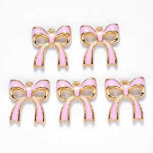 Bow Charms - Pink - Enamel - Charms - Riverside Beads