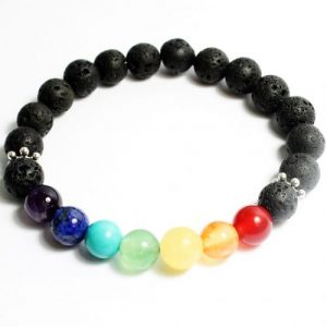 Lava Bead Chakra Bracelet-riverside beads