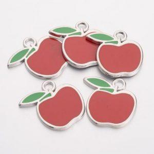 Enamel Apple Charms - Riverside Beads