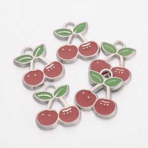Enamel Cherry Charms - Riverside Beads