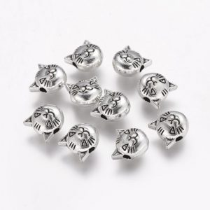Silver Cat Head Charms - Riverside Beads