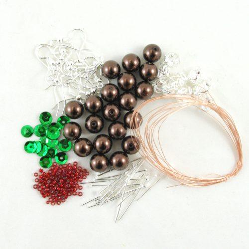 Christmas Pudding Earrings Kits - Riverside Beads