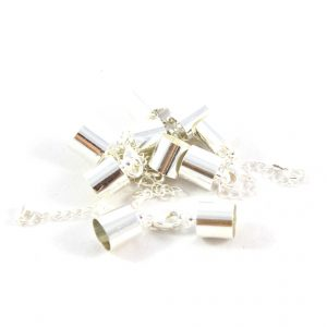 7mm Silver Kumihimo Bell Closer with Extension - Riverside Beads
