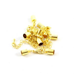 7mm Gold Kumihimo Bell Closer with Extension - Riverside Beads