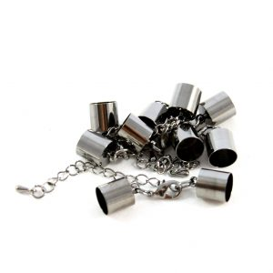 8mm Black Kumihimo Bell Closer with Extension - Riverside Beads