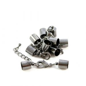 9mm Black Kumihimo Bell Closer with Extension - Riverside Beads