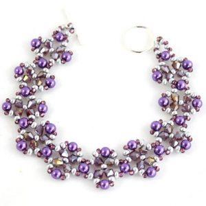 Purple Crystal Flower Bracelet-riverside beads