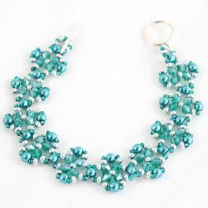 Teal Crystal Flower Bracelet-riverside beads