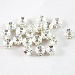 Diamante Rondelle Silver Spacer - Riverside Beads