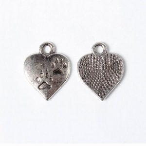 Engraved Paw Print Heart Charms - Silver Plated - Riverside Beads