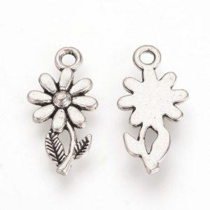 Eight Petal Flower Charm - Silver Plated - Riverside Beads
