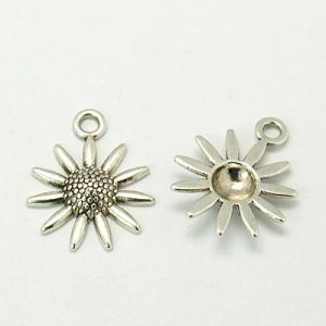 Eleven Petal Flower Charms - Silver Plated - Riverside Beads