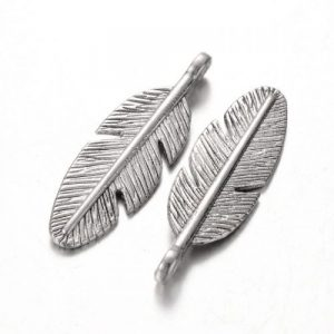 Silver Plated Feather Charms - Riverside Beads