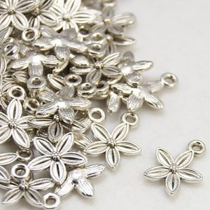Five Pointed Petal Flower Charms - Silver Plated - Riverside Beads
