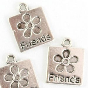Silver Square Friends Charm - Riverside Beads