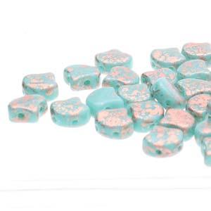 Ginko Beads Turq Green Copper Splash - 7.5mm - 10g - Riverside Beads