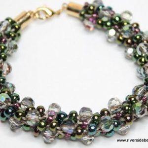 Green Iris Crystal Kumihimo-riverside beads