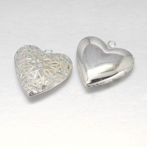 Filigree Star Heart Charm - Silver Plated - Riverside Beads