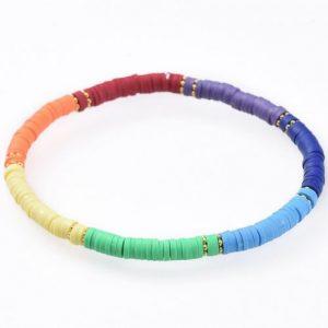 Heishi Rainbow Stretch Bracelet - Riverside Beads