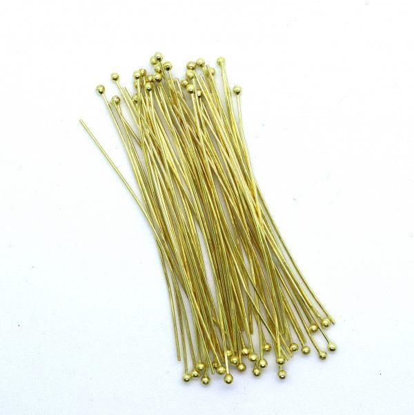 60mm Gold Ball Headpins - Riverside Beads