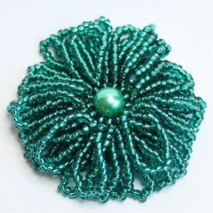 Teal Frilly Flower Brooch-riverside beads