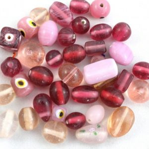 Indian Glass Mix approx. 50grams - Pink - Riverside Beads