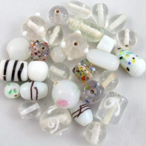 Indian Glass Mix approx. 50grams - White - Riverside Beads
