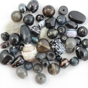 Indian Glass mix approx. 50grams - Black - Riverside Beads