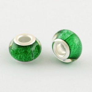 Large Hole Acrylic European Beads - Green - Riverside Beads